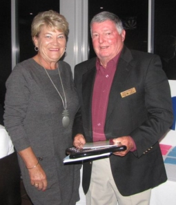 Robyn Ray (Shelly Beach) receiving The Murwillumbah Shield as Winner of 36 Hole Ladies Event. Ian Vidler, Vice President NSWVGA, also presented Robyn with her Winner's Prize