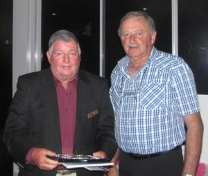 Vern Roberts (Muree) receiving The NSWVGA Shield as Winner of 36 Hole Men's Event. Ian Vidler, Vice President NSWVGA, also presented Vern with his Winner's Prize